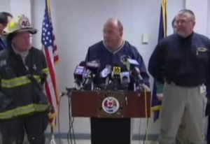Mayor Pawlowski speaks at press conference about the February 2011 gas explosion.