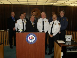 Mayor Ed Pawlowski and Police Chief Roger MacLean with new officers in the Allentown Police Department.