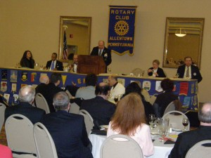 "Mayor Ed Pawlowski delivers the ""State of the City"" address to the Rotary Club."