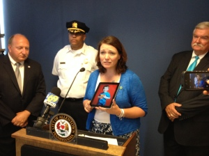 Erin Hockley shows a picture of her son Dylan