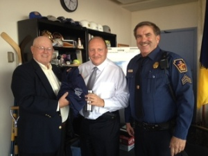Mayor Pawlowski with Bill Holler (l) and Sgt. John Guido (r)